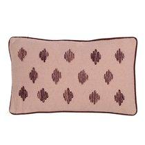 Подушка декоративная из хлопка цвета пыльной розы с контрастным кантом из коллекции Ethnic, 30х50 см - Tkano