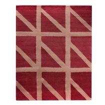 Ковер шерстяной ручной работы Geometric dance бордового цвета, 160х230 см - Tkano