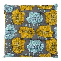 Подушка на стул из хлопка серого цвета с принтом Цветы из коллекции Prairie, 40х40 см - Tkano