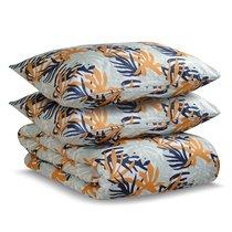 Комплект постельного белья полутораспальный из сатина с принтом Leaves из коллекции Wild - Tkano