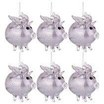 Декоративное Изделие Свинка-Ангел Цвет Серебро Набор Из 6Шт 9x6 см Высота 9,5 см - Polite Crafts&Gifts