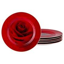 НАБОР ИЗ 6-ТИ ДЕСЕРТНЫХ ТАРЕЛОК ДИАМЕТР 20 см, цвет красный, 20 см - Jinding