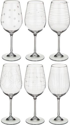 Набор бокалов для вина из 6 шт. ВИОЛА МИКС 450 МЛ ВЫСОТА=24 СМ (КОР=8Набор.) - Crystalex
