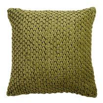 Подушка декоративная стеганая из хлопкового бархата оливкового цвета Essential, 45х45 см - Tkano