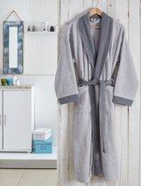 """Халат махровый """"KARNA"""" контрастный ADRA (3 XL), цвет серый - Bilge Tekstil"""