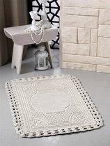 """Коврик для ванной """"MODALIN"""" кружевной FLORA 55x90 см 1/1, цвет бежевый, 55x90 - Bilge Tekstil"""