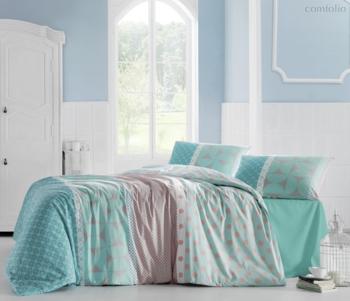 Постельное белье Ranforce Aleda, цвет бирюзовый, размер 1.5-спальный - Altinbasak Tekstil