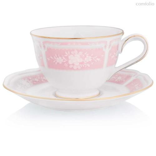 """Набор из 2 чашек чайных с блюдцами 240мл """"Цветы гревиллеи"""" (розовый,золотая отводка) - Noritake"""