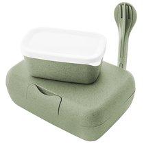 Набор из 2 ланч-боксов и столовых приборов Candy Ready Organic зеленый - Koziol