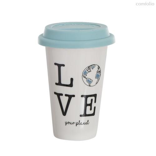 Стакан для кофе с силиконовой крышкой Planet 400мл, цвет белый - D'casa