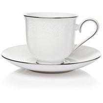 """Чашка чайная с блюдцем 180мл """"Ханна, платиновый кант"""" - Lenox"""