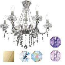 Divo Люстра 6-ти рожковая gold swarovski strass (crystal AB, violet, bl violet) - Donolux