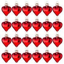 Набор Игрушек Для Маленькой Елочки 24 шт. Красные Сердечки Высота 3,4 см - Dalian