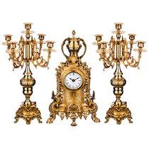 Набор Каминный 3Пр: Часы Кварцевые Настольные 22X9X39См Циферблат 8См + 2 Подсвечника 22X21X46См - ZAINCO