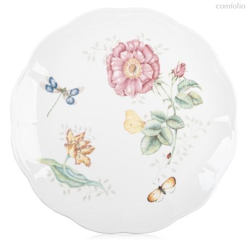 """Тарелка обеденная Lenox """"Бабочки на лугу.Стрекоза"""" 27,5см, цвет розовый, 27 см - Lenox"""