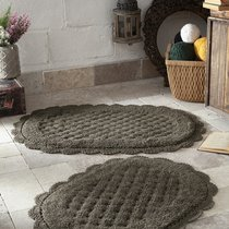 "Набор ковриков для ванной ""MODALIN"" кружевной MERIT 50x80 + 45x60 см 1/2, цвет темно-коричневый, 45x60, 50x80 - Bilge Tekstil"