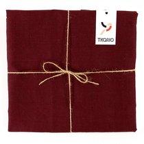 Скатерть на стол из умягченного льна с декоративной обработкой бордового цвета Essential, 143х250 см, 143x250 - Tkano