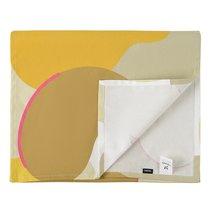 Дорожка на стол из хлопка горчичного цвета с авторским принтом из коллекции Freak Fruit, 45х150 см - Tkano