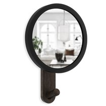 Зеркало-вешалка Hub черное/орех - Umbra