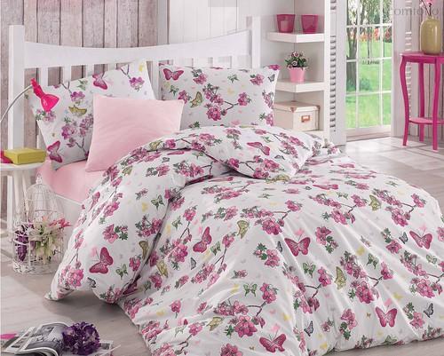 Постельное белье Ranforce Butterfle, цвет фуксия, 1.5-спальный - Altinbasak Tekstil
