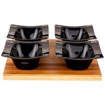 Набор Из 4 Салатников На Дерев.Подставке Lefard Fantasy 11,5 см Черный - Towin Ceramics
