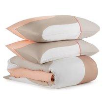 Комплект постельного белья полутораспальный из сатина бежевого цвета с авторским принтом из коллекции Freak Fruit - Tkano