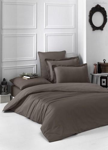 Постельное белье Karna Loft, однотонное, цвет коричневый, 2-спальный - Karna (Bilge Tekstil)