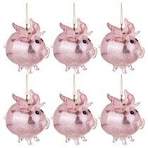 Декоративное Изделие Свинка-Ангел Цвет Розовый Набор Из 6Шт 9x6 см Высота 9,5 см - Polite Crafts&Gifts