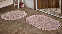 """Набор ковриков для ванной """"MODALIN"""" кружевной с люрексом DUAL 50x80 + 45x60 см 1/2, цвет розовый, 45x60, 50x80 - Bilge Tekstil"""