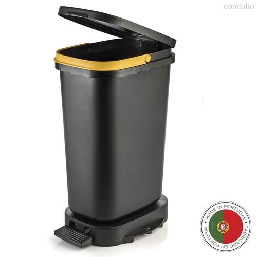 Мусорный бак с педалью BE-ECO 20л, черный-желтый, цвет желтый/черный - Faplana