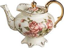 Заварочный чайник КОРЕЙСКАЯ РОЗА НА НОЖКЕ С ЗОЛОТЫМИ РУЧКАМИ 800 мл - Hangzhou Jinding