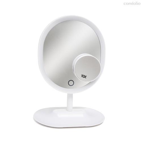 Зеркало для макияжа с подсветкой Touch, USB/4xAAA, цвет белый - Balvi