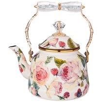 Чайник Эмалированный Agness Со Складывающейся Ручкой, Серия Royal Garden 2,5Л Подходит Для Индукцион - Avsar