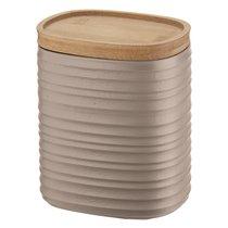 Банка для хранения с бамбуковой крышкой Tierra, 1 л, бежево-розовая - Guzzini