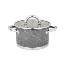 Кастрюля Agness со Стеклянной крышкой, НержСталь, 1, 8 л 16x9, 5 см, цвет серый, 1.8 л - Cooklady