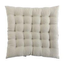 Подушка стеганая на стул из умягченного льна бежевого цвета Essential, 40х40 см - Tkano