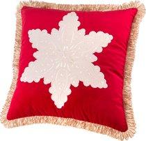 Декоративная Подушка 46x46 см, Снежинка П/Э 100%, Брусничный - Santalino