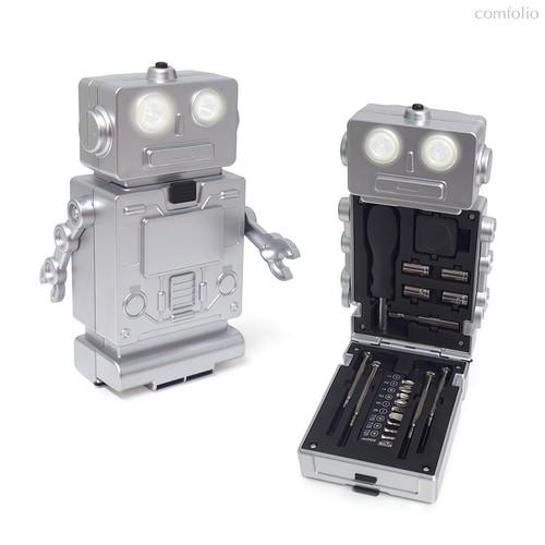 Набор инструментов с фонариком Robot, 3xAAA, цвет серебряный - Balvi