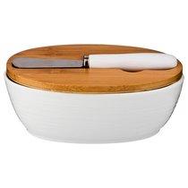 Масленка С Крышкой + Нож Металлический 14,5x11 см Высота 6 см - Yinhe Ceramics
