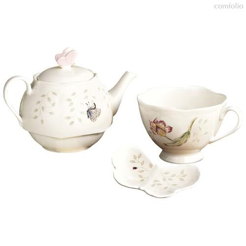 """Сервиз чайный """"Эгоист.Бабочки на лугу"""" на 1 персону 3 предмета - Lenox"""
