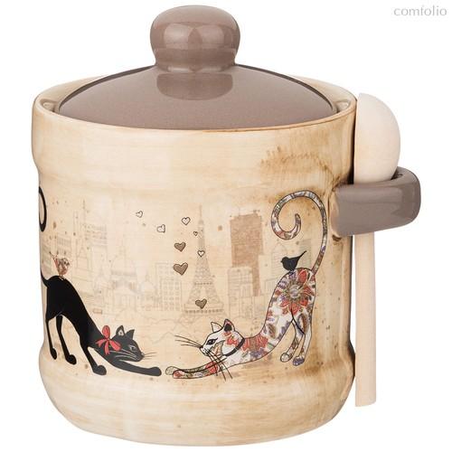 Сахарница Парижские Коты 13x11x12 см 300 мл С Ложкой - Huachen Ceramics