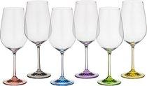 Набор бокалов для вина из 6 шт. RAINBOW 550 МЛ ВЫСОТА=24,5 СМ (КОР=8Набор.) - Crystalex