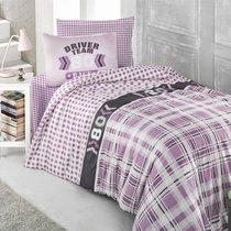 Постельное белье Ranforce Driver Team, подростковое, цвет сиреневый, 1.5-спальный - Altinbasak Tekstil