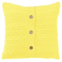 "Вязаный чехол для подушки ""Light yellow"", 43х43см, 02-V036/2, цвет желтый, 43x43 - Altali"