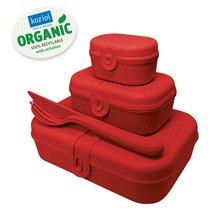 Набор ланч-боксов и столовых приборов Pascal, Organic, красный, 3 шт. - Koziol