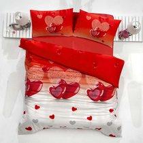 Постельное белье Ranforce Loveliy, цвет красный, размер Евро - Altinbasak Tekstil