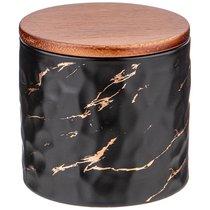 Банка Для Сыпучих Продуктов Коллекция Золотой Мрамор Цвет:Black 11,5x11 см - Porcelain Manufacturing Factory
