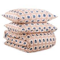 Комплект постельного белья двуспальный из сатина бежево-розового цвета с принтом Blossom time из коллекции Cuts&Pieces - Tkano