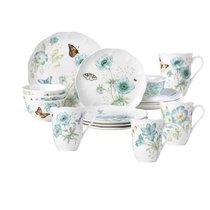 """Сервиз чайно-столовый Lenox """"Бабочки на лугу"""" на 4 персоны 16 предметов, бирюза, п/к - Lenox"""