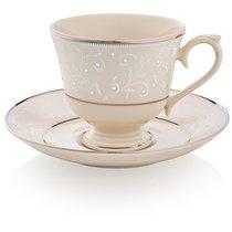 """Чашка чайно-кофейная с блюдцем 180мл """"Чистый жемчуг"""""""
